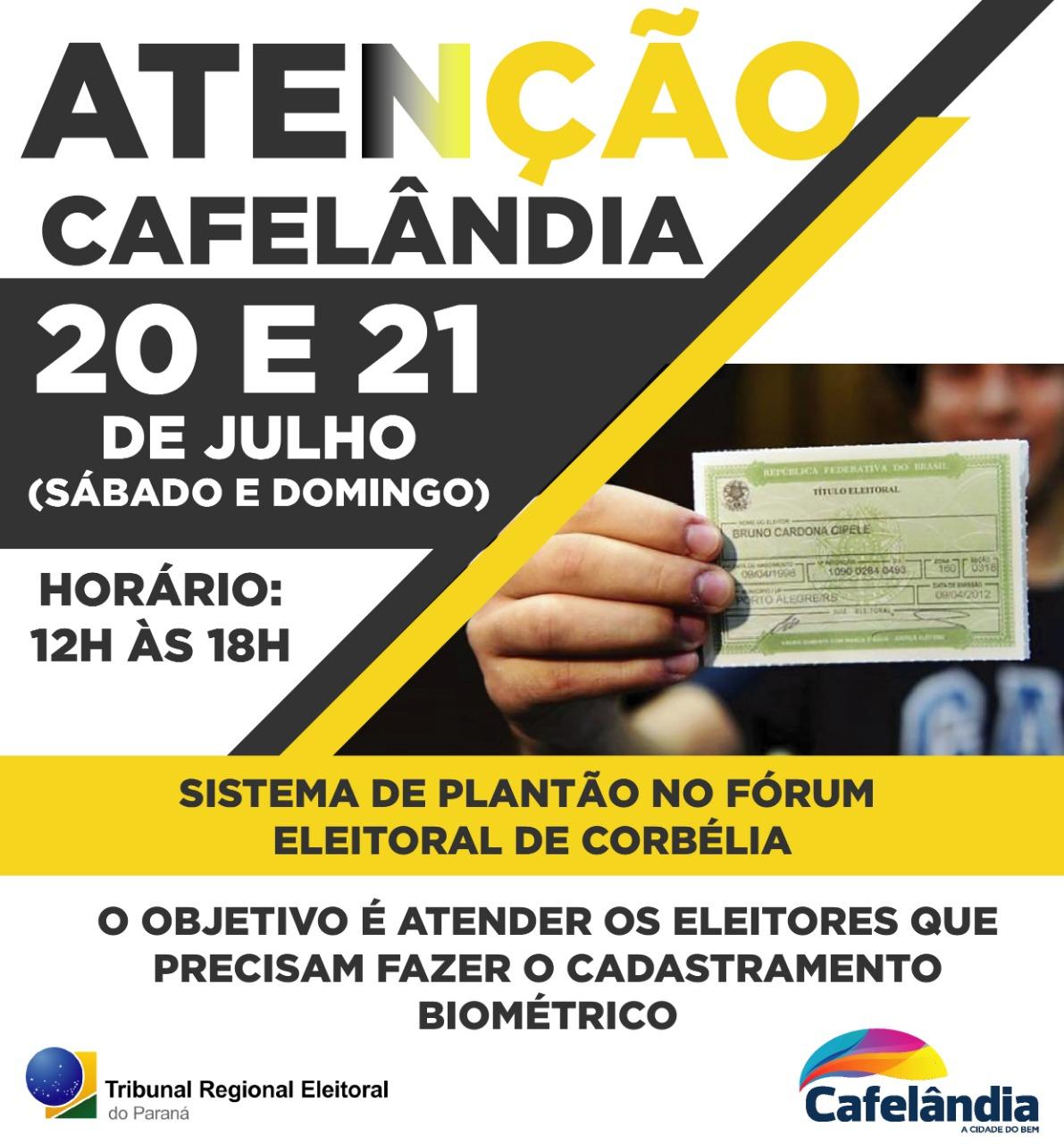 Nos dias 20 e 21 de Julho o Fórum Eleitoral de Corbélia atenderá em sistema de plantão para cadastramento biométrico