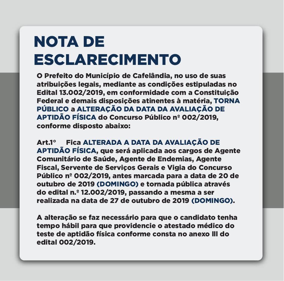 Prefeitura Municipal de Cafelândia divulga nota de esclarecimento referente ao Concurso Público Nº 002/2019
