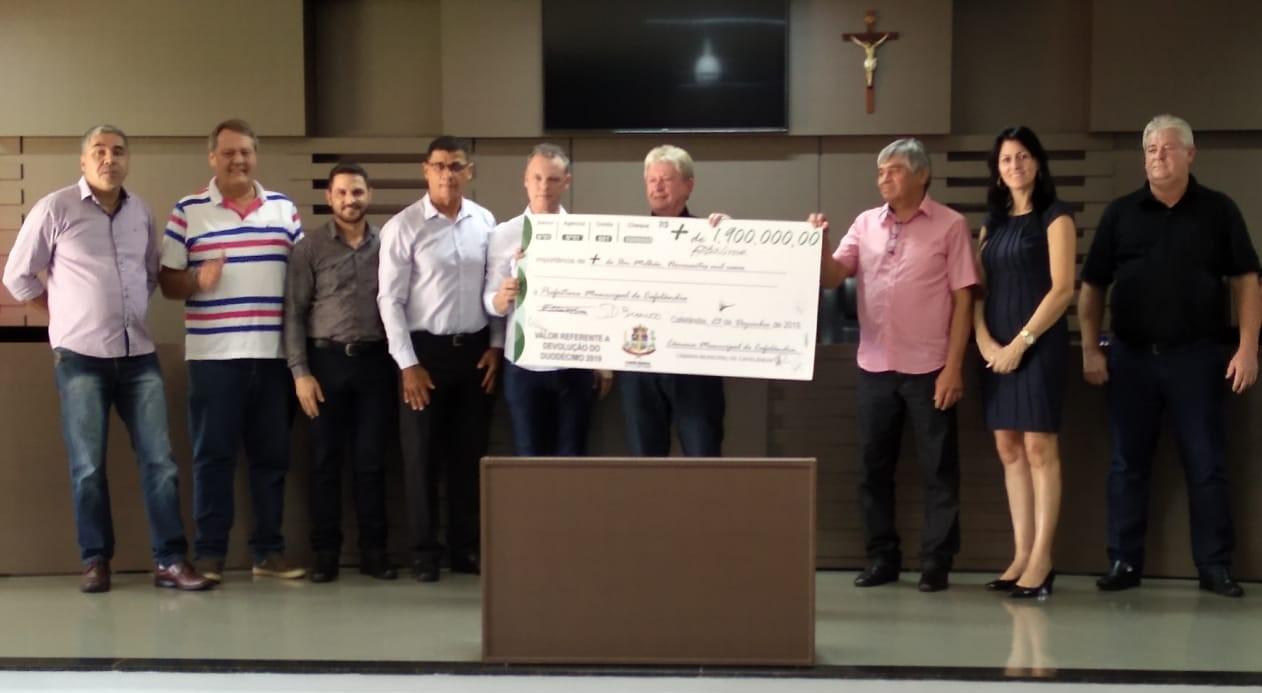 Câmara Municipal devolve mais de R$ 1.900.000,00 à Prefeitura do Município de Cafelândia.