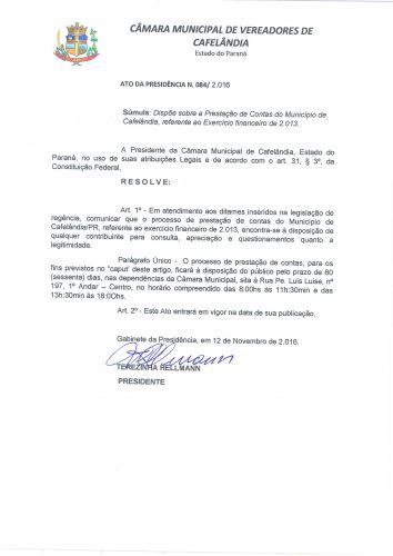 Ato da Presidência Nº084/2016