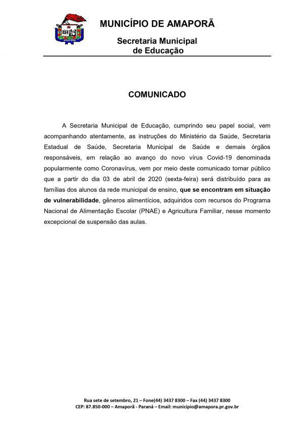 Comunicado Secretaria Municipal de Educação