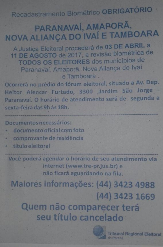 RECADASTRAMENTO BIOMÉTRICO OBRIGATÓRIO