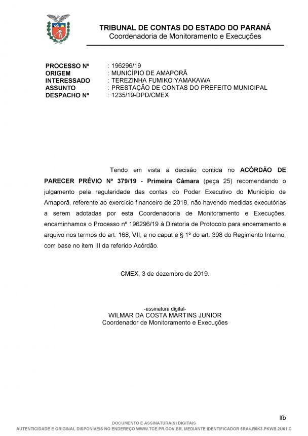 ACÓRDÃO DE PARECER PRÉVIO Nº 379/19 - Primeira Câmara