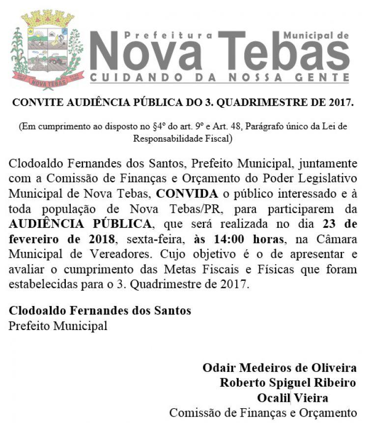 CONVITE AUDIÊNCIA PÚBLICA DO 3. QUADRIMESTRE DE 2017.