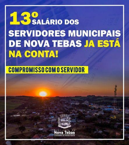 13º dos Servidores Públicos de Nova Tebas ja está na Conta