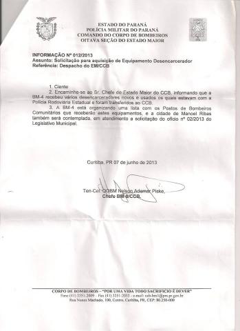 Foi concedido um Conjunto Desencarcerador ao Bombeiro Comunitário de Manoel Ribas