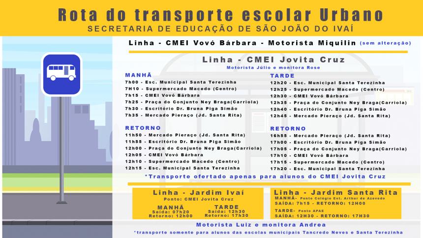 Secretaria de Educação divulga o itinerário do transporte escolar urbano