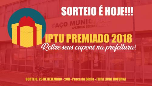 Sorteio dos prêmios da promoção IPTU Premiado 2018 será hoje durante a Feira Livre Noturna