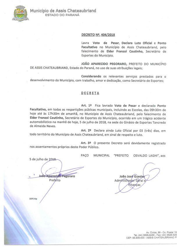 Prefeito decreta luto oficial pela morte de secretário