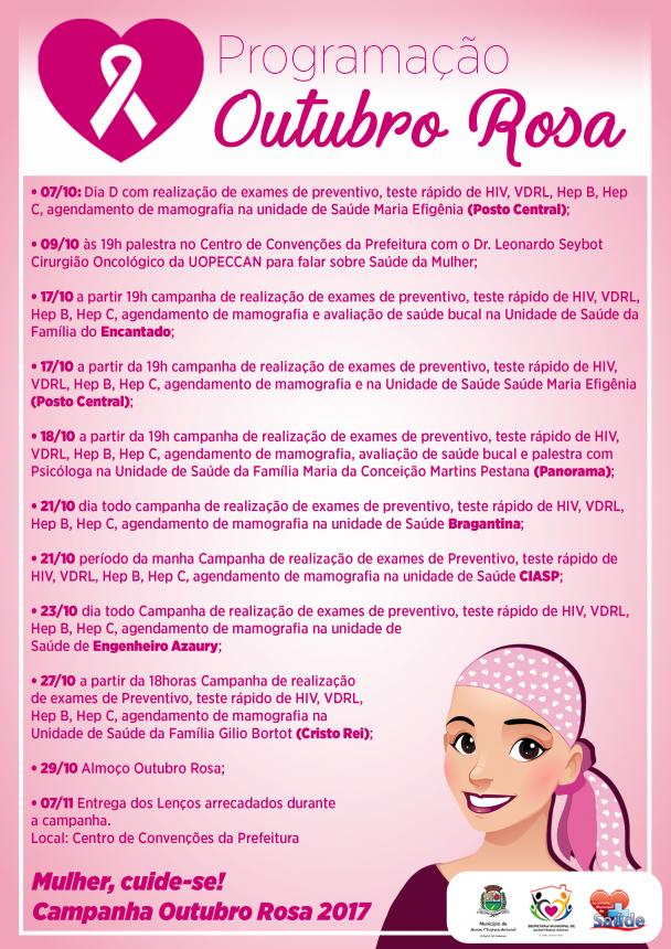 """Dia """"D"""" da Campanha Outubro Rosa acontece hoje em Assis"""