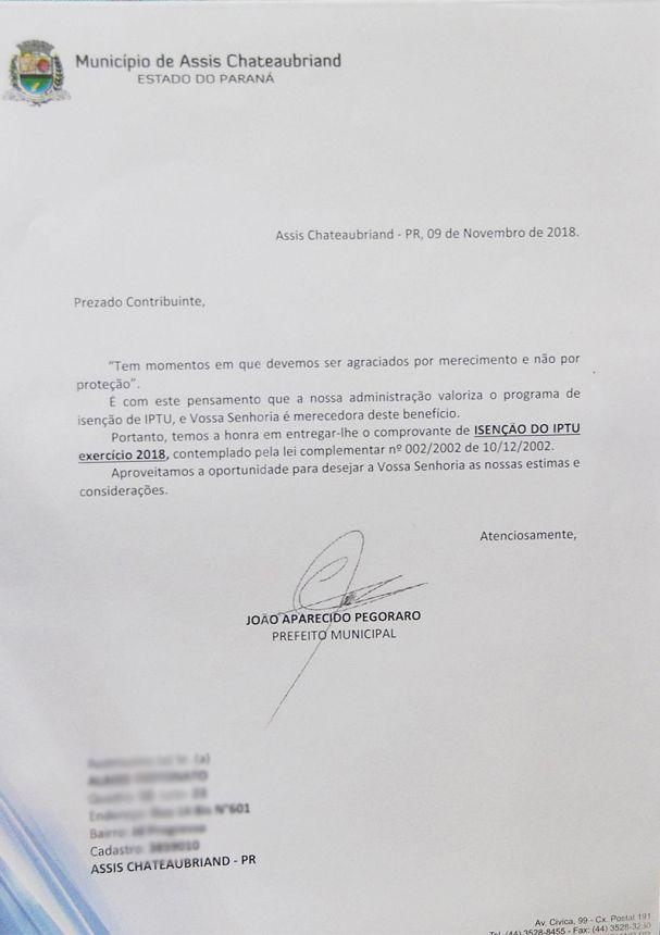 Prefeitura convoca beneficiários para retirar comprovante de isenção do IPTU