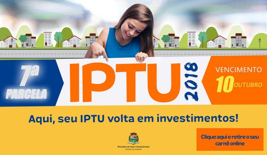 IPTU: 7ª parcela vence nesta quarta-feira