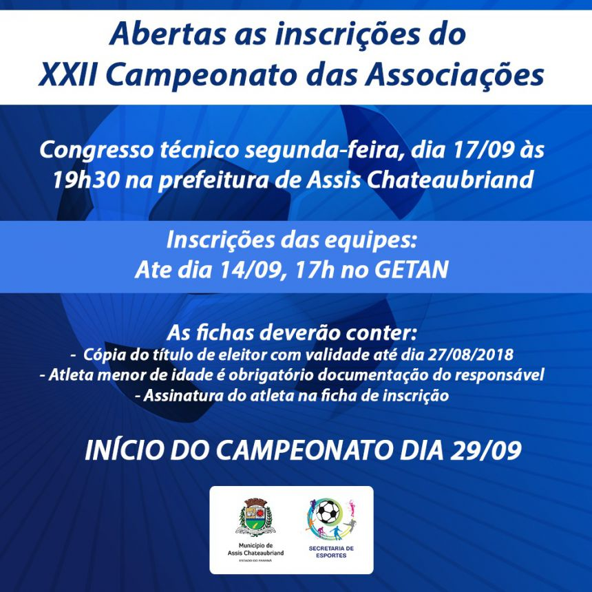 Campeonato das Associações tem congresso técnico segunda-feira