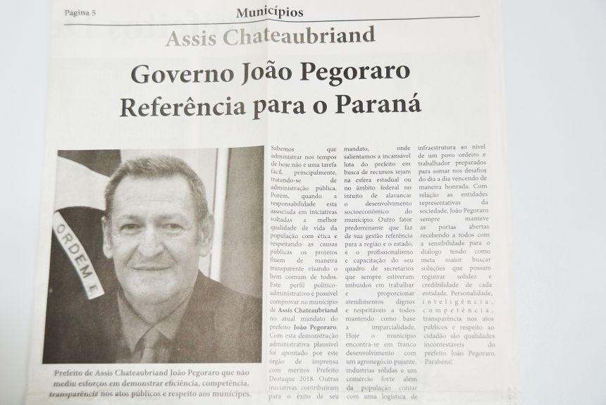 Pegoraro ganha reconhecimento estadual como Prefeito Destaque 2018