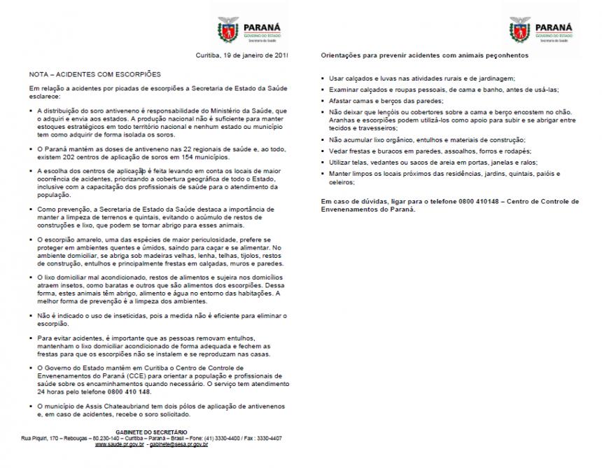 """Município de Assis declara """"guerra"""" contra escorpião e dengue"""