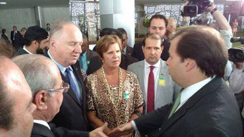 Com o presidente da Câmara dos Deputados, Rodrigo Maia