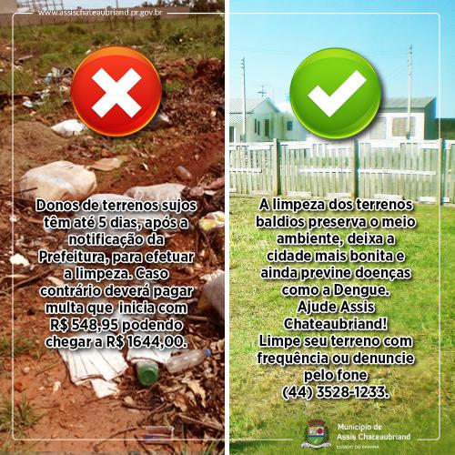 Prefeitura de Assis notifica proprietários de terrenos baldios