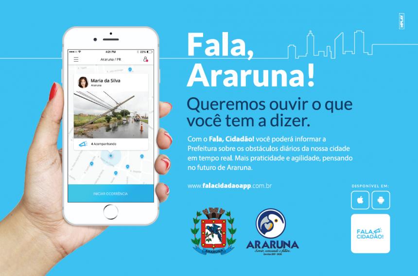Aplicativo promete facilitar ainda mais o contato entre os cidadãos e o Poder Público Municipal. Fotografia: App Fala Cidadão (imagem meramente ilustrativa).
