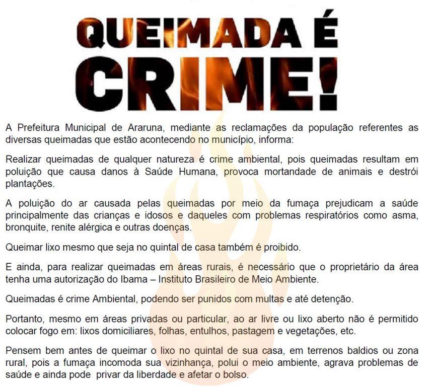 LEI FEDERAL Nº 9.605/1998 - QUEIMADAS DE QUALQUER NATUREZA É CRIME AMBIENTAL