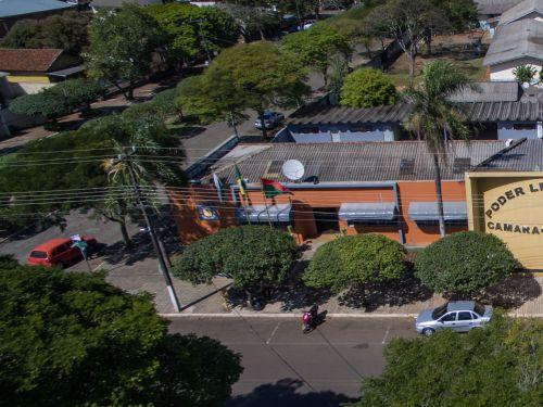 Vista aérea do Paço Municipal Prefeito Evangelista Dal Santo. Fotografia: Murilo Santos/MS Produtora