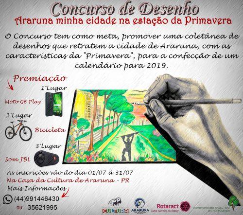 Cultura lança concurso de desenho em Araruna. Fotografia: Arte elaborada pelo setor.