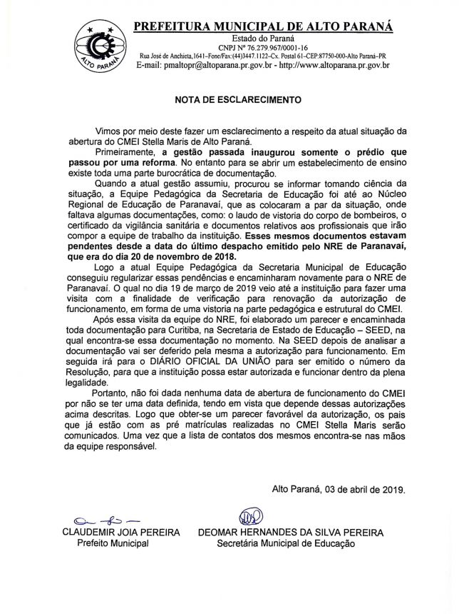 NOTA DE ESCLARECIMENTO A RESPEITO DA ATUAL SITUAÇÃO DA ABERTURA DO CMEI STELLA MARIS.
