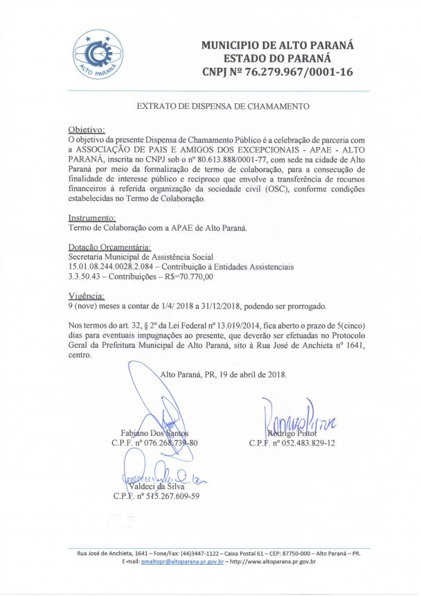 PUBLICAÇÃO: EXTRATO DE DISPENSA DE CHAMAMENTO - ASSOCIAÇÃO DE PAIS E AMIGOS DOS EXCEPCIONAIS - APAE - ALTO PARANÁ