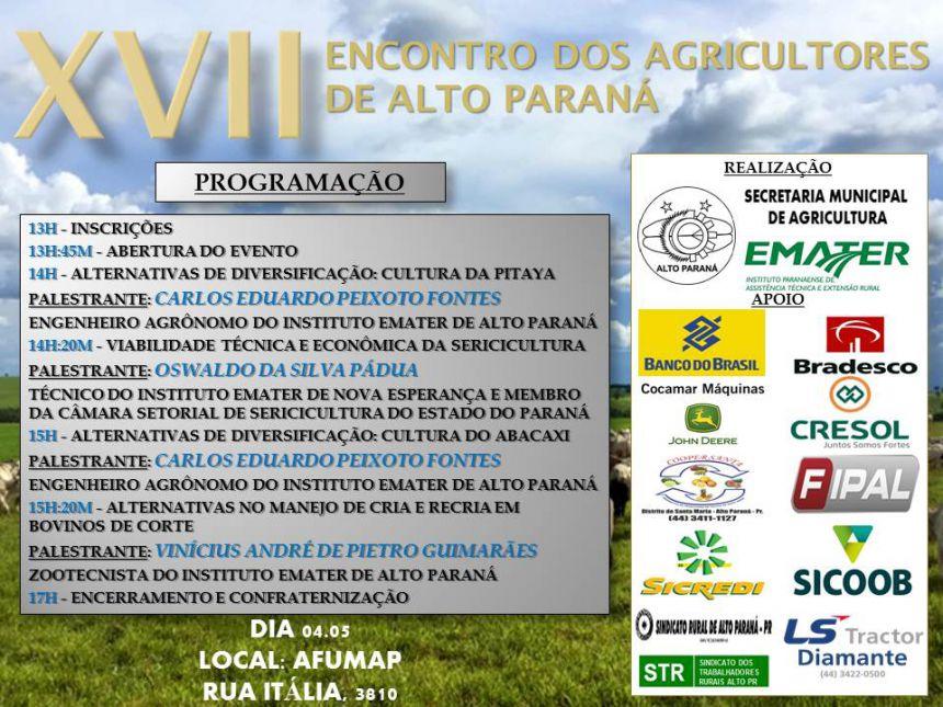 SECRETARIA DA AGRICULTURA E EMATER REALIZARÃO XVII ENCONTRO DOS AGRICULTORES