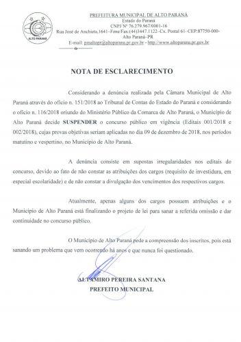 NOTA DE ESCLARECIMENTO - SUSPENSÃO CONCURSO PÚBLICO 001/2018 e 002/2018