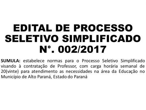 EDITAL DE PROCESSO SELETIVO SIMPLIFICADO N°. 002/2017