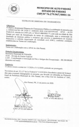 APAE - EXTRATO DE DISPENSA DE CHAMAMENTO