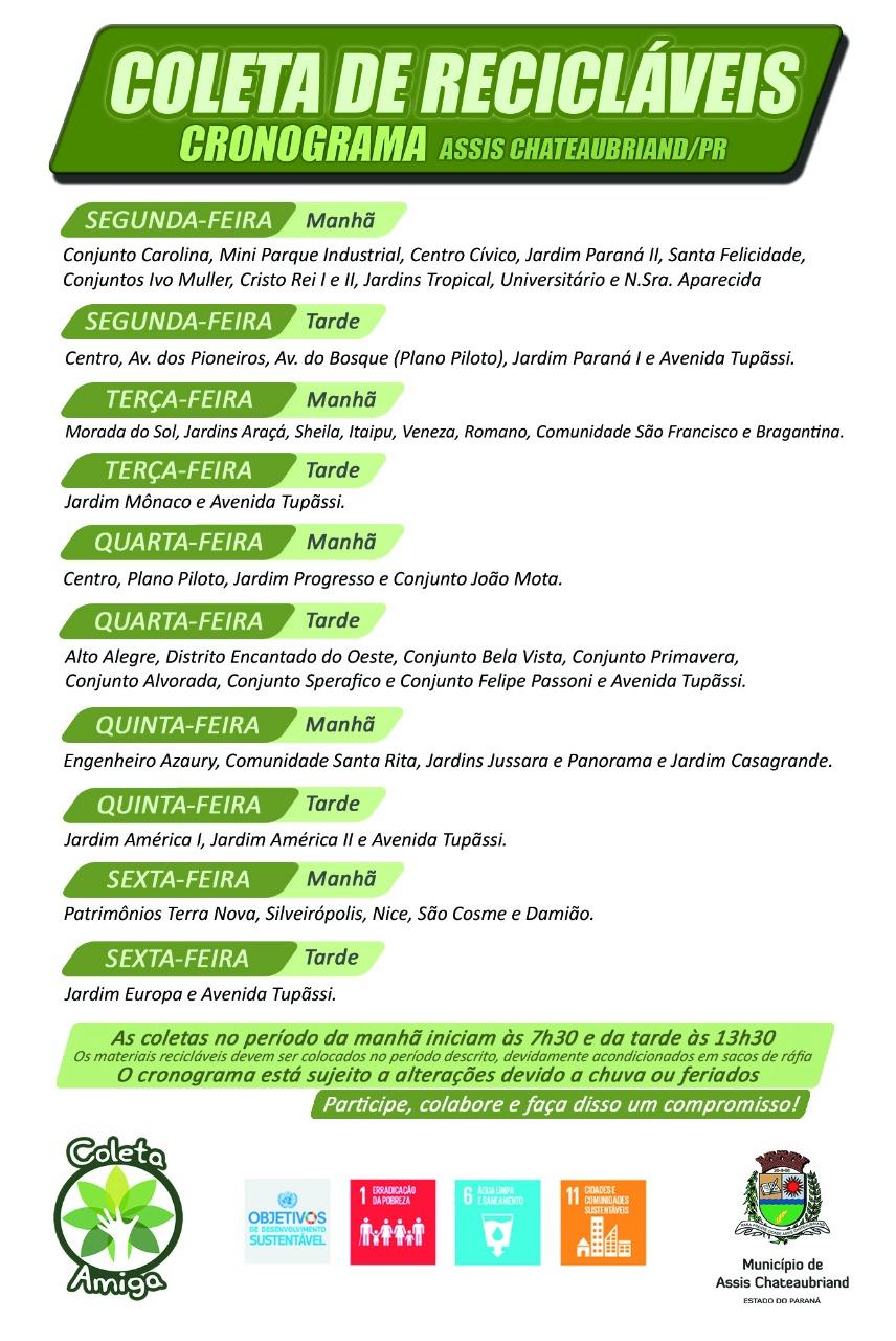 Cronograma da Coleta de Recicláveis