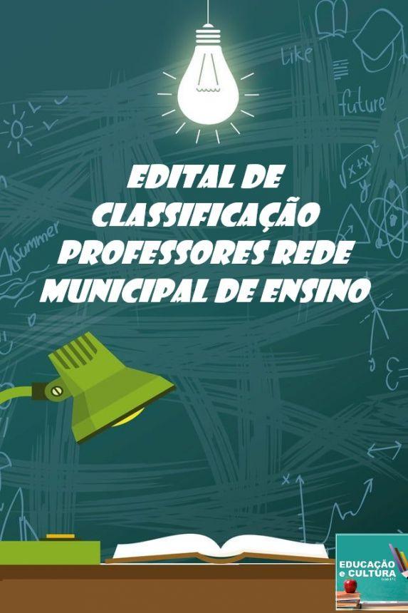 Edital de Escolha de Turmas Professores da Rede Municipal