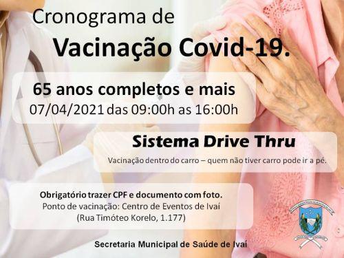 CRONOGRAMA VACINAÇÃO COVID-19 - DRIVE THRU