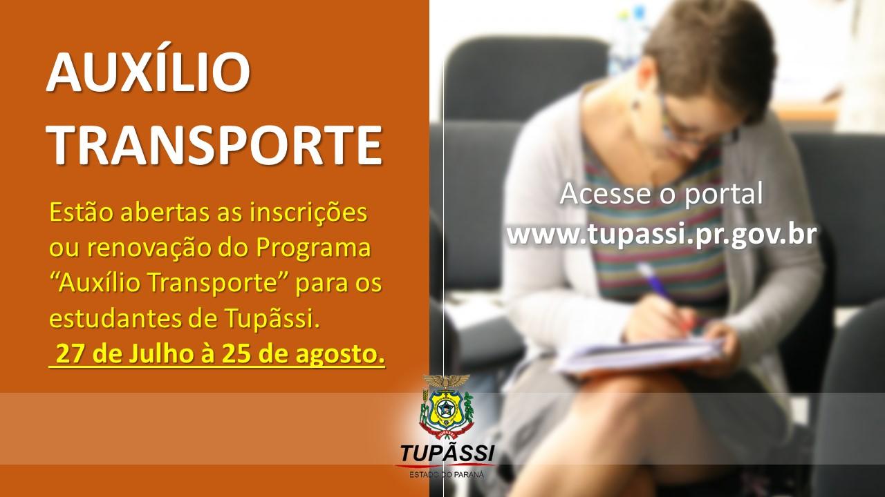 Município Abre Prazo para Inscrições e Renovações  do Auxílio Transporte aos Estudantes de Cursos Técnicos e Superiores de Tupãssi