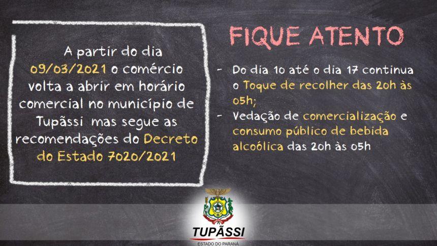 Comércio de Tupãssi  volta a abrir a partir de Amanhã (09) com ressalvas, conforme o Decreto do Governo do Estado