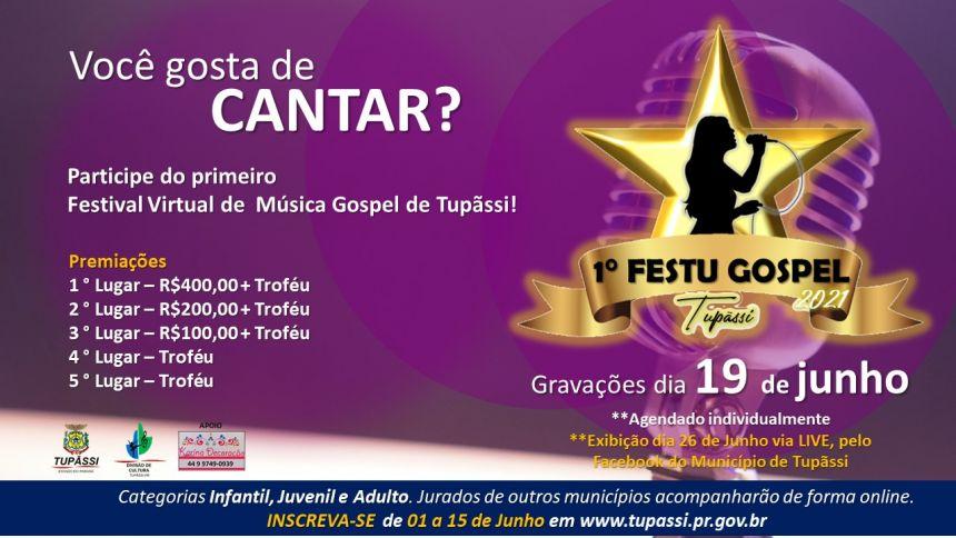 Tupãssi Realizará Festival Virtual de Interpretação de Música Gospel - FESTU GOSPEL