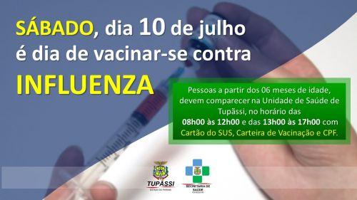 Unidade de Saúde de Tupãssi Estará Realizando a Vacinação Contra a Influenza Nesse Sábado (10)