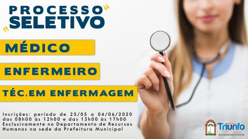 Prefeitura abre Processo Seletivo para contratação de Médico, Enfermeiro e Técnico em enfermagem.