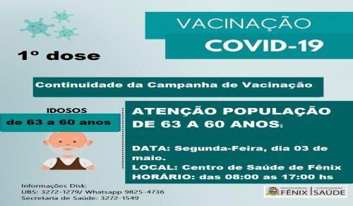 Continuação Da Vacinação de Pessoas DE 60 a 63 Anos