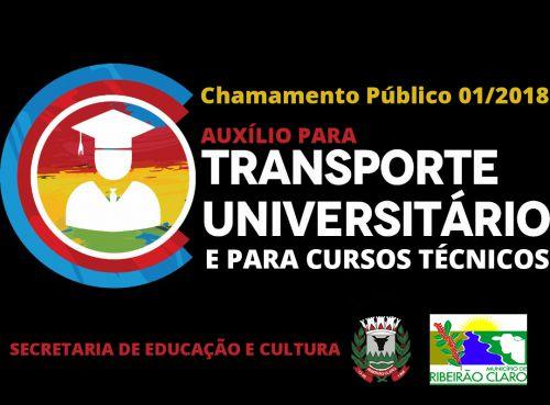 Chamamento Público 01/2018 - Auxílio no Transportes de Estudantes Universitários e de Cursos Técnicos