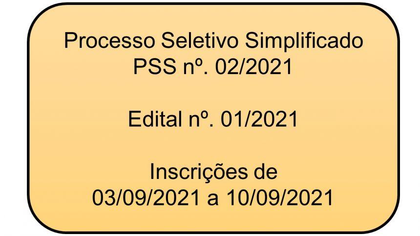 Processo Seletivo Simplificado - PSS nº. 02/2021