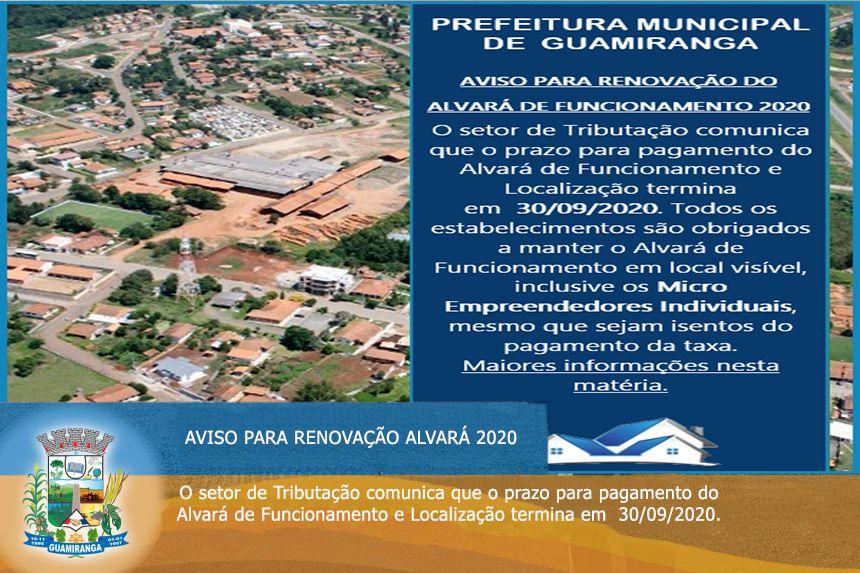 AVISO PARA RENOVAÇÃO DO ALVARÁ DE FUNCIONAMENTO 2020