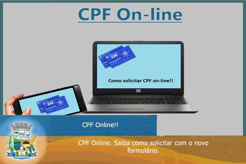 CPF Online. Saiba como tirar com o novo formulário!!
