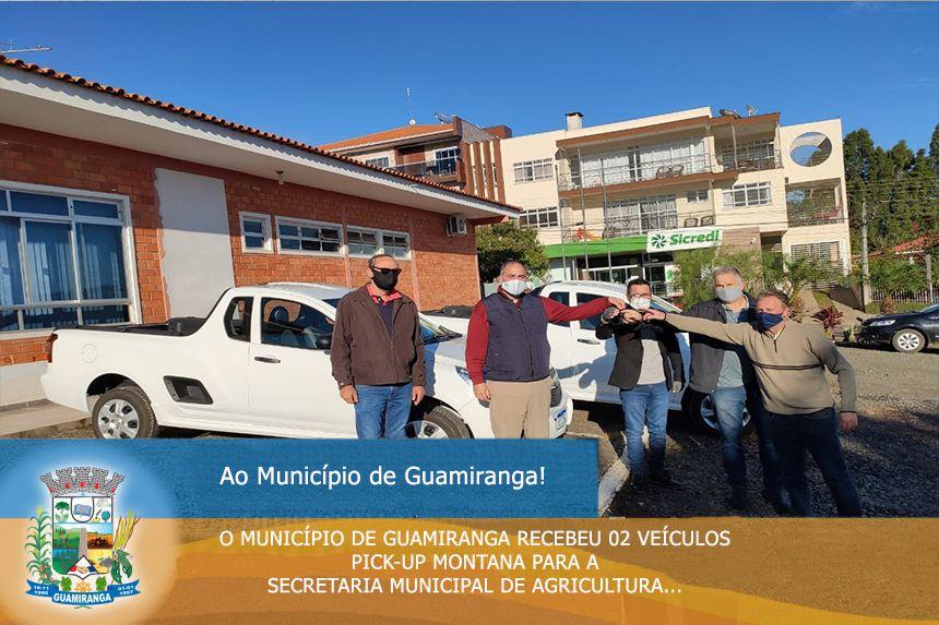 O Município de Guamiranga Recebeu 02 Veículos PICK-UP MONTANA para a Secretaria Municipal de Agricultura.