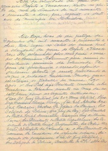Ata da Solenidade de posse do primeiro prefeito e Vereadores eleitos, 1952 parte 01 (Acervo Câmara  Municipal de Marialva)