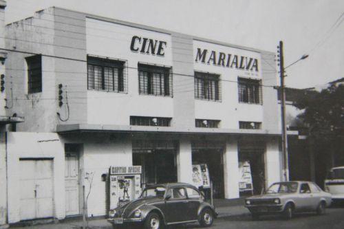 fachada do cinema onde foi realizada a solenidade de posse do primeiro prefeito e vereadores de Marialva