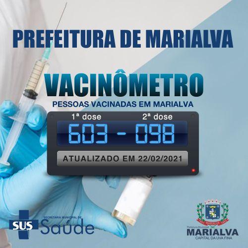Vacinômetro: 603 pessoas vacinadas em 1ª dose, e 98 em 2ª dose