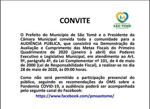 Administrarão de São Tome fará prestação de contas ao vivo no Facebook nesta quinta feira