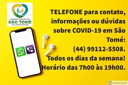 TELEFONE PARA DUVIDAS E INFORMAÇÕES SOBRE COVID -19